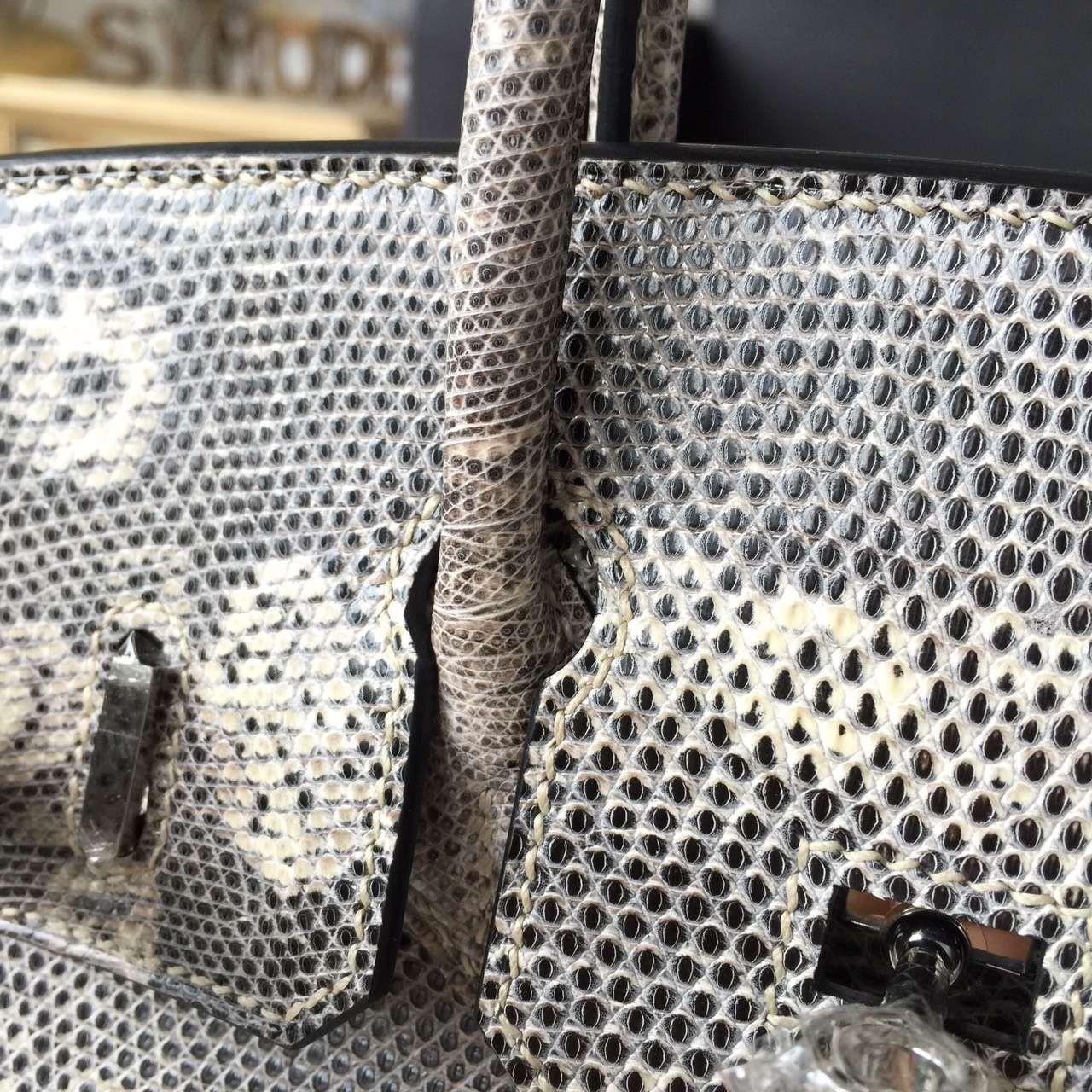 fb32bd5187 ... Hermes Birkin 25cm Natural Lizard Skin Original Leather Bag  Handstitched Palladium Hardware