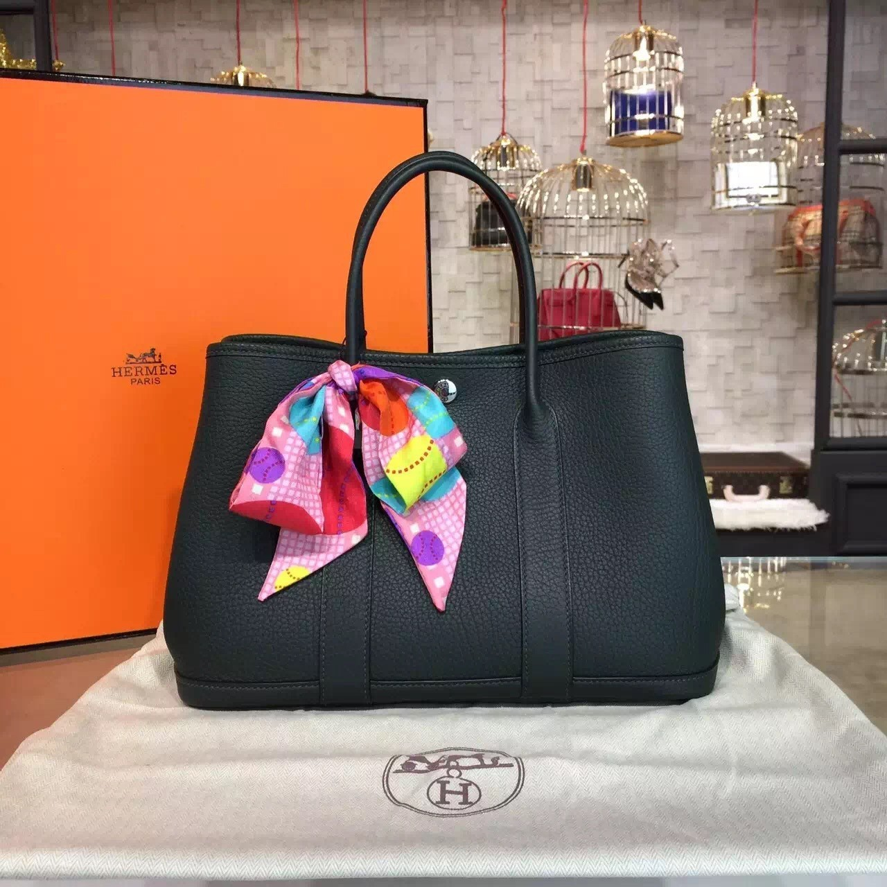 5bc1820c9977 ... Hermes Garden Party 30cm Togo Calfskin Leather Palladium Hardware High  Quality
