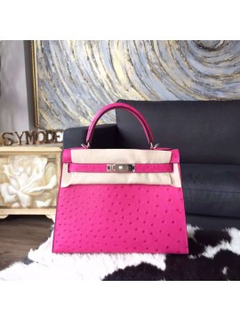 Imitation Hermes Autruche Ostrich Kelly 32cm Sellier Rigide Bag Handstitched Palladium Hardware, Fuschia Pink 5J RS16236