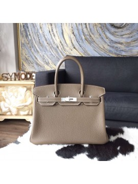 Hermes Birkin 30cm Togo Calfskin Bag Original Leather Handstitched Palladium Hardware, Etoupe CK18 RS18622