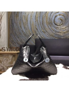 Replica Hermes Lindy 30cm Matte Alligator Crocodile Bag Handstitched Palladium Hardware, Noir Black RS15938