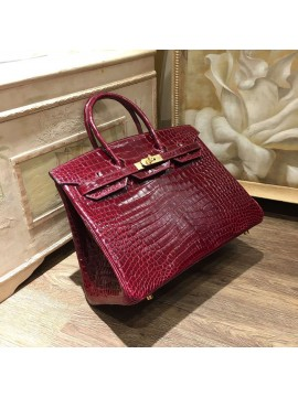 Replica Fashion Hermes Birkin 35cm Shiny Alligator Crocodile Gold Hardware Handstitched, Bordeaux CK57 RS09550