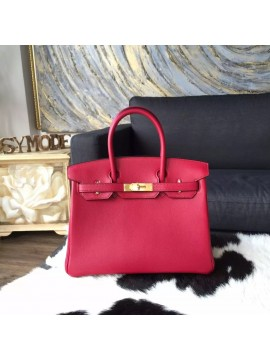 Copy Hermes Birkin 30cm Swift Calfskin Bag Handstitched Gold Hardware, Ruby B5 RS18654