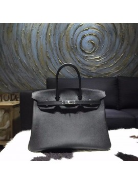 Fashion Hermes Birkin 35cm Epsom Calfskin Leather Bag Palladium Hardware Handstitched, Noir CK89 RS05029
