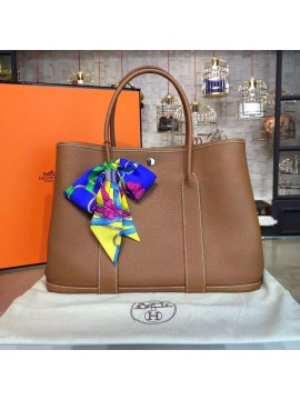 Hermes Garden Party 36cm Togo Calfskin Leather Palladium Hardware High Quality, Gold RS04623