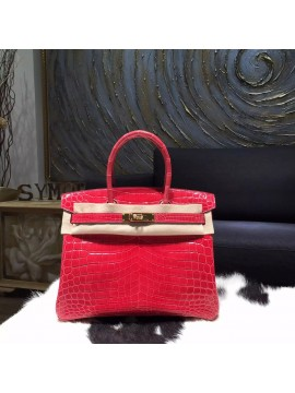 Hermes Shiny Alligator Crocodile Birkin 30cm Gold Hardware Handstitched, Bougainvillier A5 RS17006