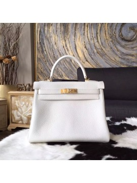 Imitation Hermes Kelly 25cm/28cm/32cm Togo Calfskin Bag Handstitched Gold/Palladium Hardware, Blanc RS20946