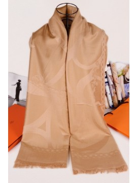 Fake Hermes Silk Shawl Beige RS04852