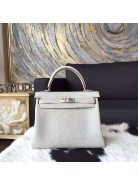Hermes Kelly 25cm Togo Calfskin Original Leather Bag Handstitched Palladium Hardware, Pearl Grey CK80 RS15457