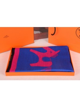 Designer Hermes Small pony Wool Scarf Blue RS18445