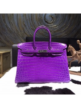Hermes Birkin 35cm Shiny Alligator Crocodile Palladium Hardware Handstitched, Ultraviolet 5L RS16688