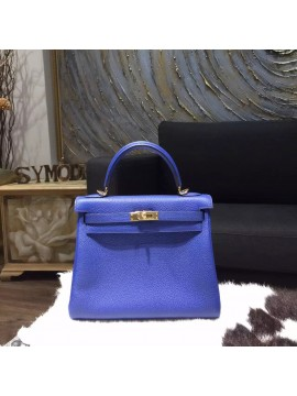 Replica Hermes Kelly 25cm Togo Calfskin Original Leather Bag Handstitched Gold Hardware, Blue Electric 7T RS17841