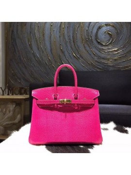 Quality Hermes Birkin 25cm Lizard Skin Original Leather Bag Handstitched Gold Hardware, Fuschia Pink 5J RS01695