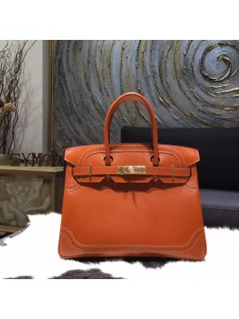 87ae54dd8b38 Fake Hermes Birkin Ghillies Limited Edition 30cm Box Calfskin Leather Bag  Handstitched Gold Hardware