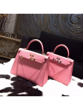 Imitation Hermes Kelly 25cm Epsom Calfskin Bag Handstitched, Rose Confetti 1Q RS15506