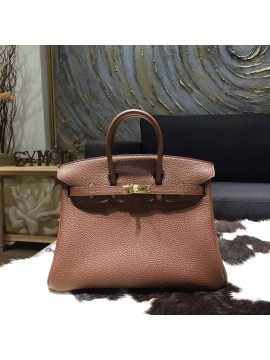 Hermes Birkin 25cm Togo Calfskin Bag Handstitched Gold Hardware, Chocolat CK47 RS08492