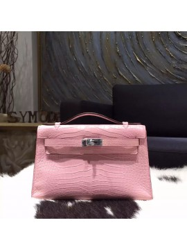 Hermes Mini Kelly Pochette 22cm Matte Alligator Crocodile Skin Palladium Hardware Handstitched, Pink 5P RS02809