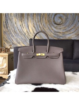 Luxury Hermes Birkin 35cm Togo Calfskin Leather Bag Gold Hardware Handstitched, Etain 8F RS00250