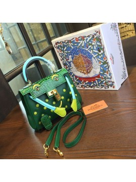 Limited Edition Hermes Mini Kelly Doll Bag 20cm Swift Leather with Croc Gold Hardware Singapore 50th Anniversary, Green/Light Green RS05068