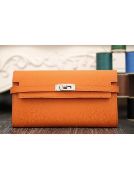 Hermes Kelly Longue Wallet In Orange Epsom Leather RS01801