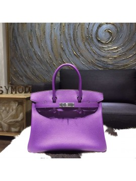Quality Hermes Birkin 30cm Epsom Calfskin Original Leather Bag Handstitched Palladium Hardware, Crocus RS19765