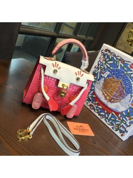 Limited Edition Hermes Mini Kelly Doll Bag 20cm Swift Leather with Croc Gold Hardware Singapore 50th Anniversary, Pink/Blanc RS17393