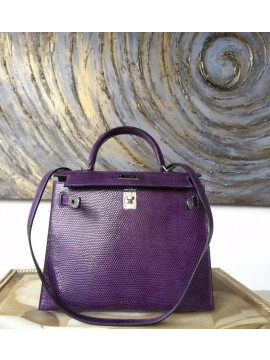 Best Quality Replica Hermes Birkin 25cm Lizard Skin Bag Handstitched Palladium Hardware, Amethyst 9G RS17114