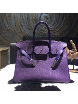 Hermes Horseshoe Birkin 35cm Taurillon Clemence Calfskin Leather Bag Gold Hardware Handstitched, Ultraviolet 5L/Iris 9K RS04070