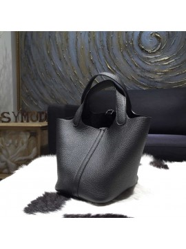 Replica Hermes Picotin Lock Bag 18cm/22cm Taurillon Clemence Palladium Hardware Hand Stitched, Noir Black RS01558