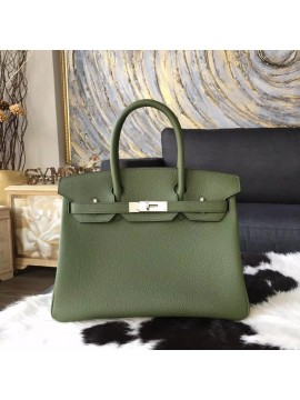 High Quality Hermes Birkin 30cm Togo Calfskin Bag Handstitched Palladium Hardware, Canopee V6 RS11069