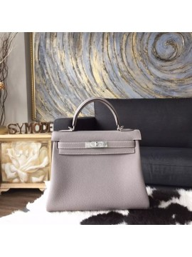 Hermes Kelly 28cm Togo Calfskin Bag Handstitched Palladium Hardware, Gris Tourterelle CK81 RS06155