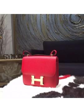 Replica High Quality Hermes Constance 18cm Epsom Calfskin Original Leather Handstitched Gold Hardware, Rouge Casaque Q5 RS07166