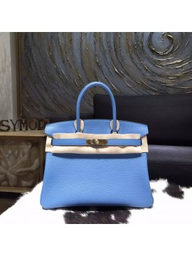 Copy Luxury Hermes Birkin 30cm Taurillon Clemence Bag Handstitched Gold Hardware, Blue Paradise 2T RS05869