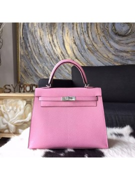 Best Hermes Birkin 25cm Lizard Skin Original Leather Bag Handstitched Palladium Hardware, Pink 5P RS12259