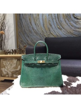 Imitation Hermes Birkin 25cm Lizard Skin Bag Gold Hardware Handstitched, Vert Emeraude 6Q RS14078