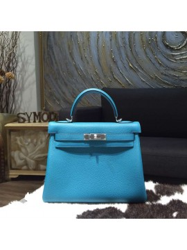 Hermes Kelly 28cm Togo Calfskin Bag Handstitched Palladium Hardware, Turquoise Blue 7B RS17657