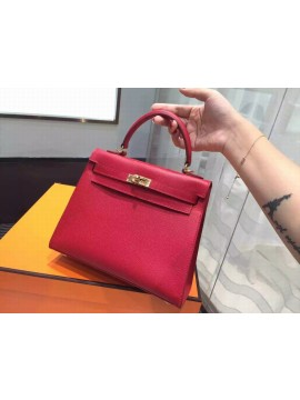 Hermes Kelly 25cm Epsom Calfskin Original Leather Bag Hand Stitched Gold Hardware, Rouge Casaque Q5 RS00083