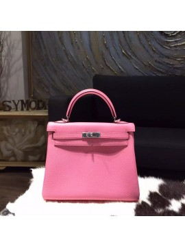 Top Hermes Kelly 25cm Togo Calfskin Original Leather Bag Handstitched Palladium Hardware, Pink 5P RS20013