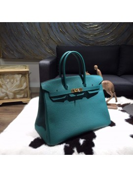 Hermes Birkin 35cm Togo Calfskin Leather Bag Gold Hardware Handstitched, Malachite Z6 RS01872