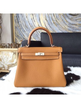Hermes Kelly 25cm Togo Calfskin Bag Handstitched Palladium Hardware, Gold CK37 Contrast Stitching RS13214
