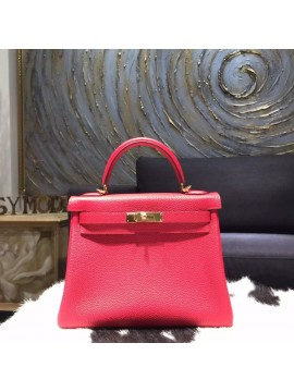 Copy Hermes Horseshoe Kelly 28cm Togo Calfskin Original Leather Bag Handstitched Gold Hardware, Rose Jaipur T5, Rouge Pivoine 2R RS20303