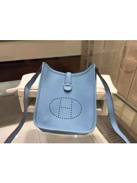 Luxury Hermes Evelyne Mini TPM Taurillon Clemence Palladium Hardware Handstitched High Quality, Bleu Lin CKJ7 RS04667