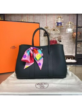 Hermes Garden Party 30cm Togo Calfskin Leather Palladium Hardware High Quality, Black RS12003