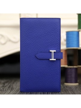 Imitation Hermes Bearn Gusset Wallet In Electric Blue Leather RS11175