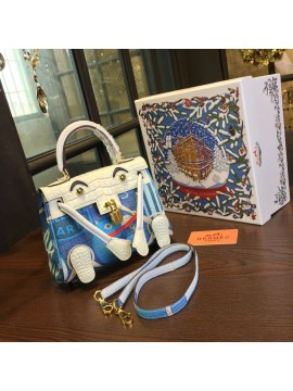 Limited Edition Hermes Mini Kelly Doll Bag 20cm Swift Leather with Croc Gold Hardware Singapore 50th Anniversary, Blanc/Light Blue RS16120