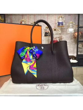 Hermes Garden Party 36cm Togo Calfskin Leather Palladium Hardware High Quality, Chocolate RS14447