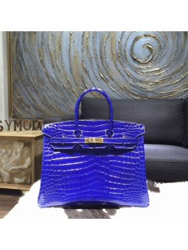 Luxury Hermes Shiny Alligator Birkin 30cm Bag Hand Stitched Gold Hardware Handstitched, Blue Electric 7T RS14245