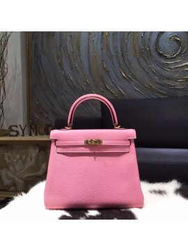 Hermes Kelly 25cm Taurillon Clemence Calfskin Original Leather Bag Handstitched Gold Hardware, Pink 5P RS16485