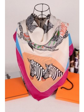 Replica Hermes Zebra Silk Scarf White RS17066