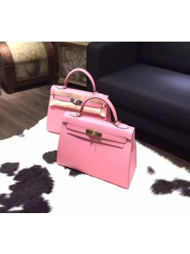 Hot Fake Hermes Kelly 28cm Epsom Calfskin Original Leather Bag Handstitched, Rose Confetti 1Q RS19437
